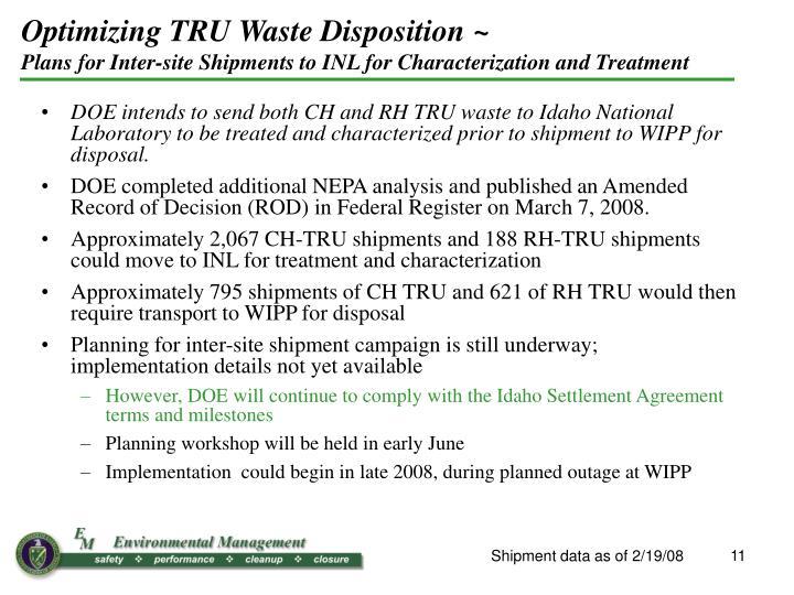 Optimizing TRU Waste Disposition