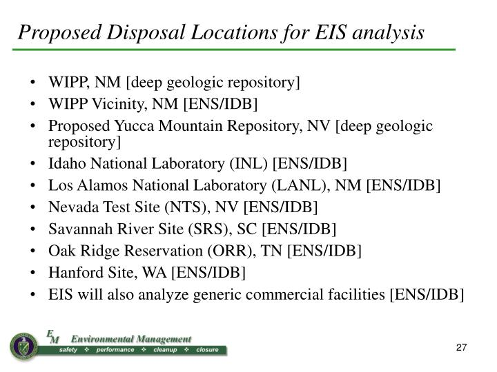 Proposed Disposal Locations for EIS analysis