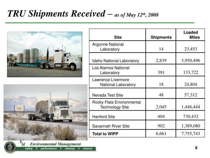 TRU Shipments Received –