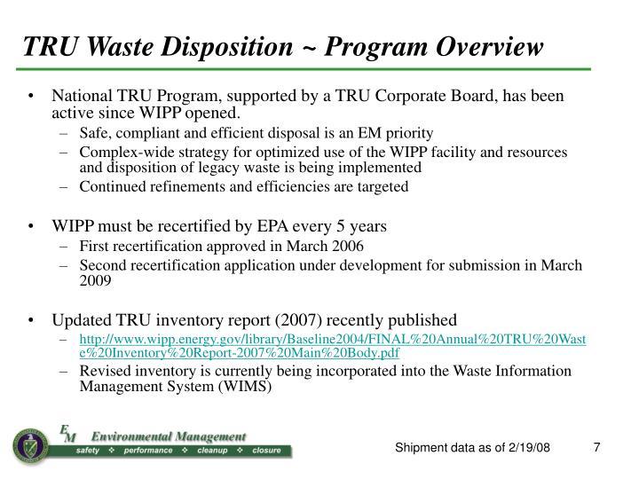 TRU Waste Disposition
