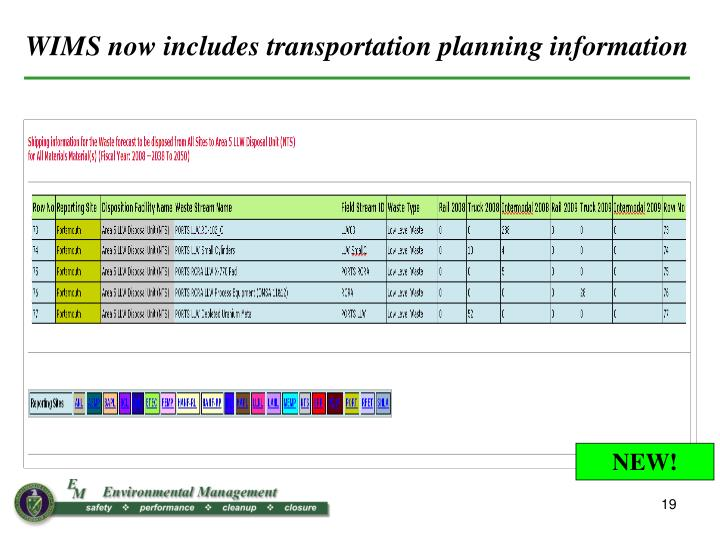 WIMS now includes transportation planning information