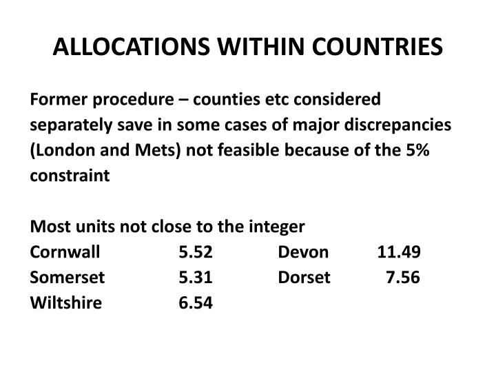 ALLOCATIONS WITHIN COUNTRIES