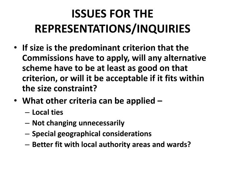 ISSUES FOR THE REPRESENTATIONS/INQUIRIES