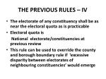 the previous rules iv