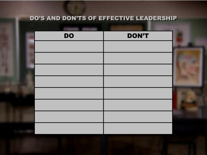 DO'S AND DON'TS OF EFFECTIVE LEADERSHIP