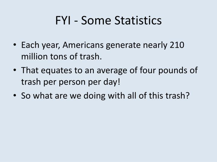 FYI - Some Statistics