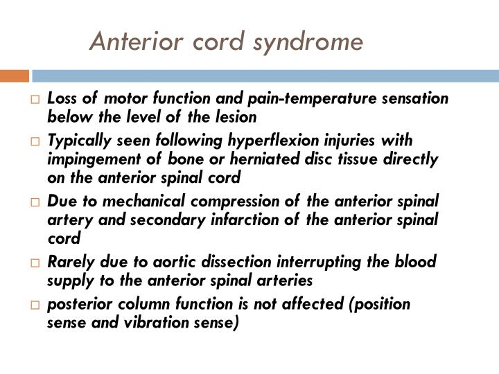 Loss of motor function and pain-temperature sensation below the level of the lesion