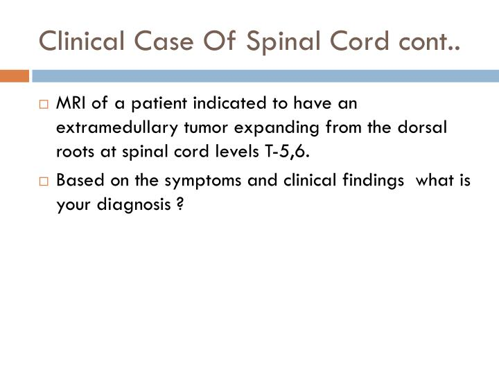 Clinical case of spinal cord cont