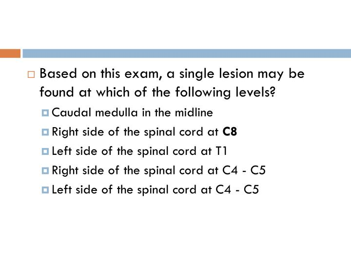 Based on this exam, a single lesion may be found at which of the following levels?