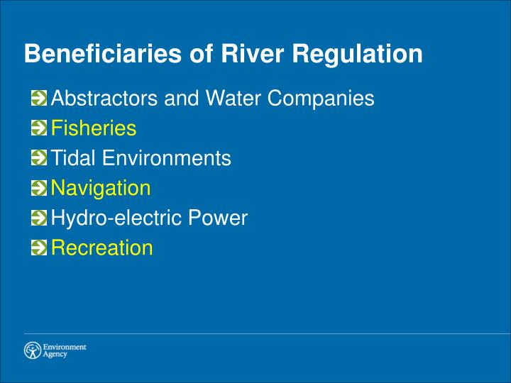 Beneficiaries of River Regulation