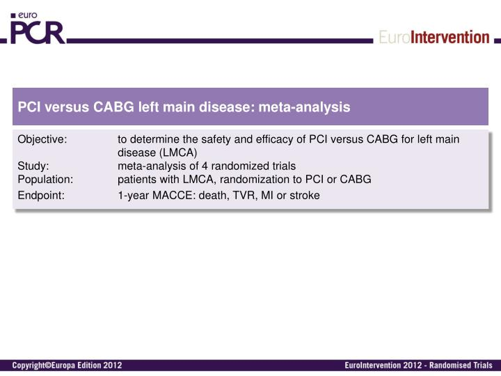 Pci versus cabg left main disease meta analysis