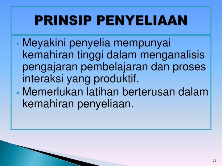 PRINSIP PENYELIAAN