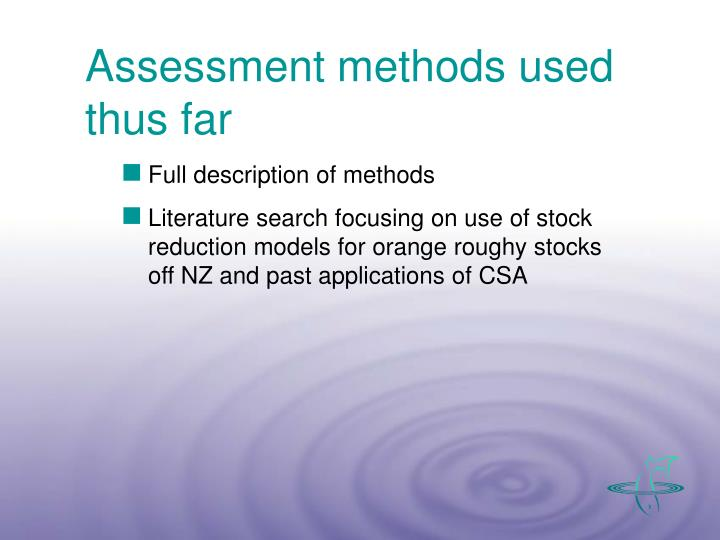 Assessment methods used