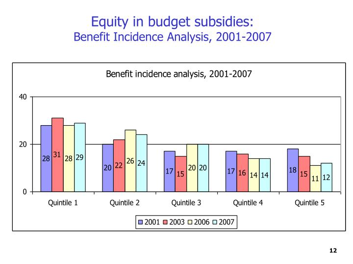 Equity in budget subsidies: