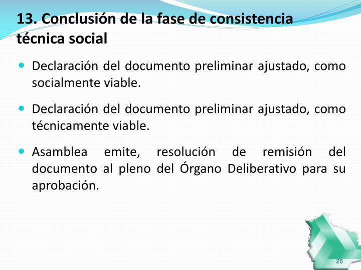 13. Conclusión de la fase de consistencia técnica social
