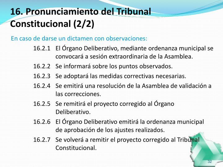 16. Pronunciamiento del Tribunal Constitucional (2/2)
