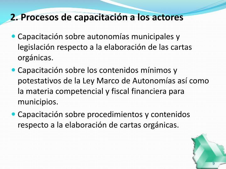 2. Procesos de capacitación a los actores