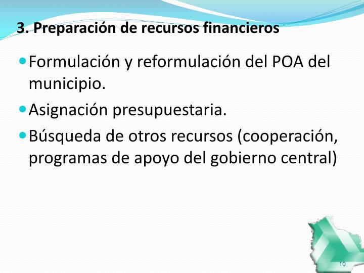 3. Preparación de recursos financieros
