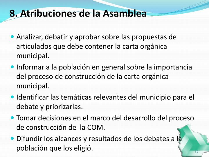 8. Atribuciones de la Asamblea