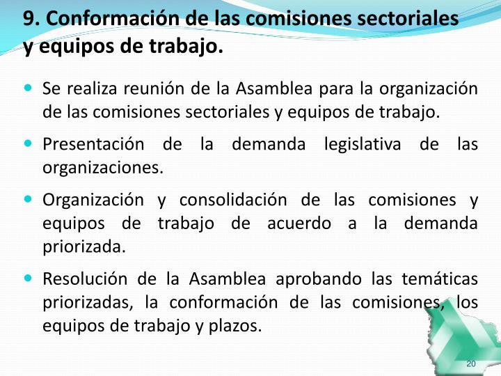 9. Conformación de las comisiones sectoriales y equipos de trabajo.