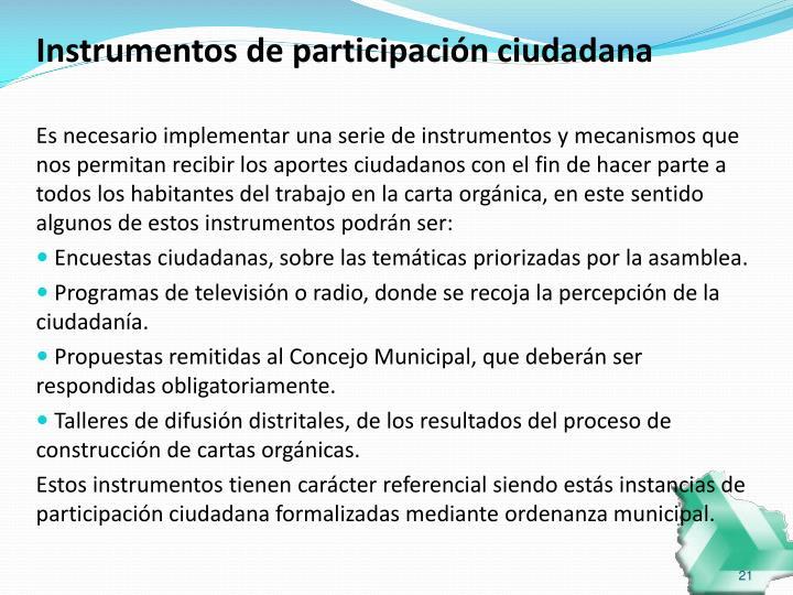 Instrumentos de participación ciudadana