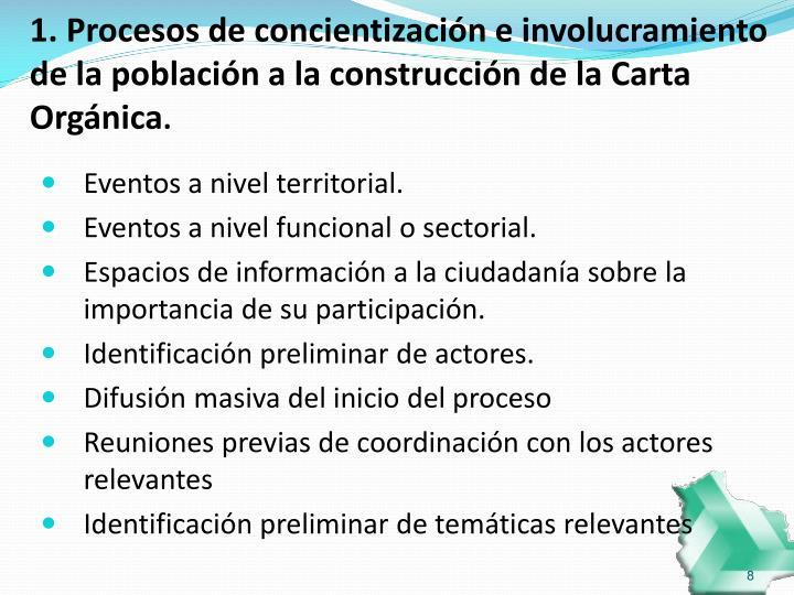 1. Procesos de concientización e involucramiento de la población a la construcción de la Carta Orgánica