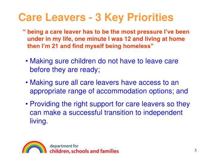 Care Leavers - 3 Key Priorities