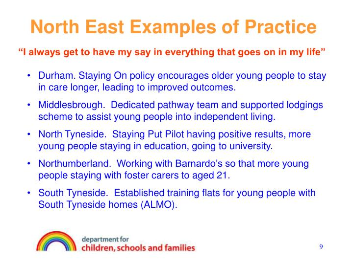 North East Examples of Practice