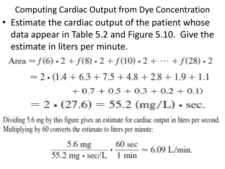 Computing Cardiac Output from Dye Concentration
