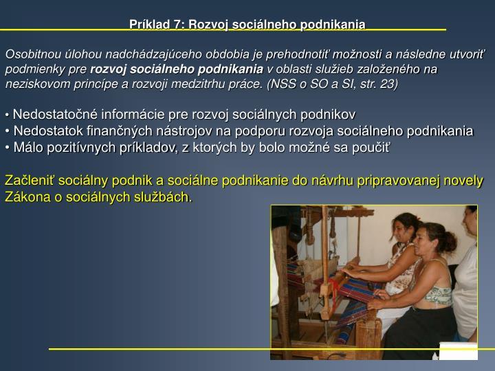 Príklad 7: Rozvoj sociálneho podnikania