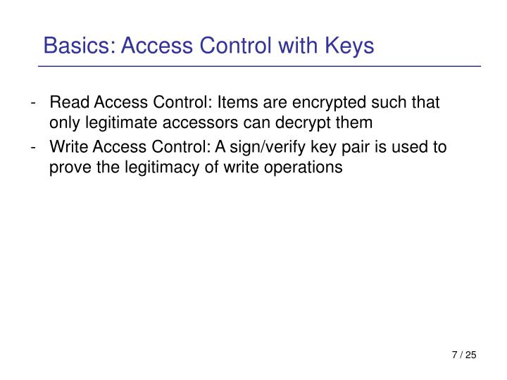Basics: Access Control with Keys