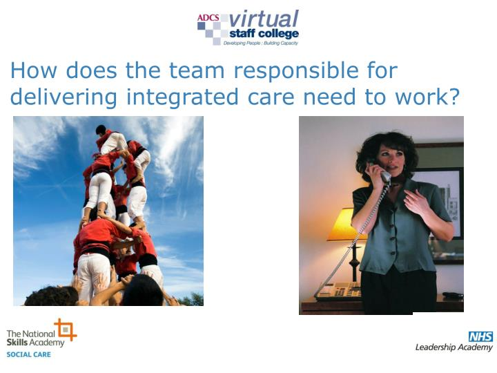 How does the team responsible for delivering integrated care need to work?