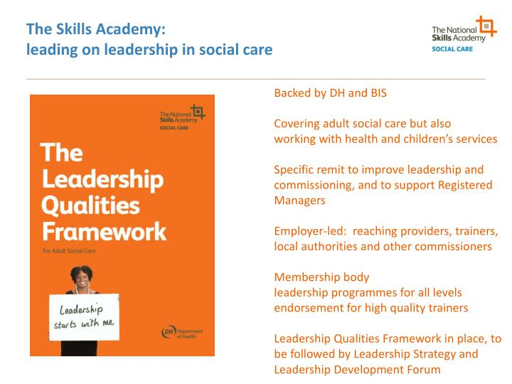 The skills academy leading on leadership in social care