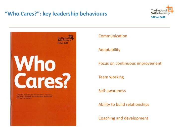 """Who Cares?"": key leadership behaviours"