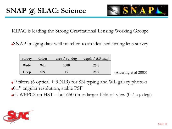 SNAP @ SLAC: Science