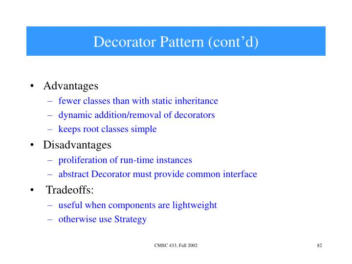 Decorator Pattern (cont'd)