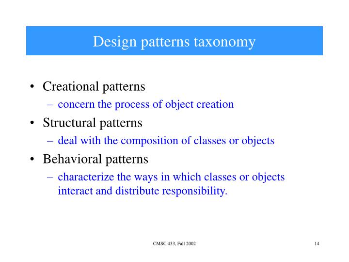 Design patterns taxonomy