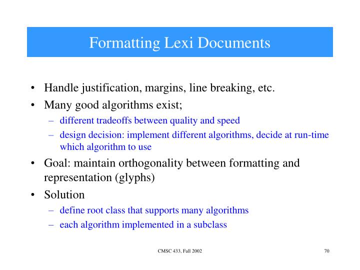 Formatting Lexi Documents