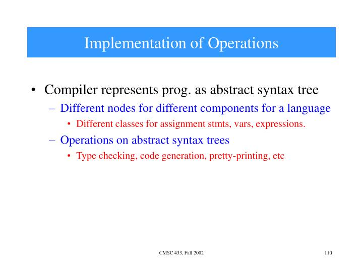 Implementation of Operations