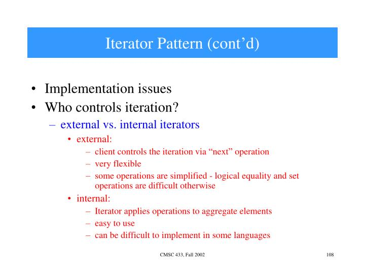 Iterator Pattern (cont'd)