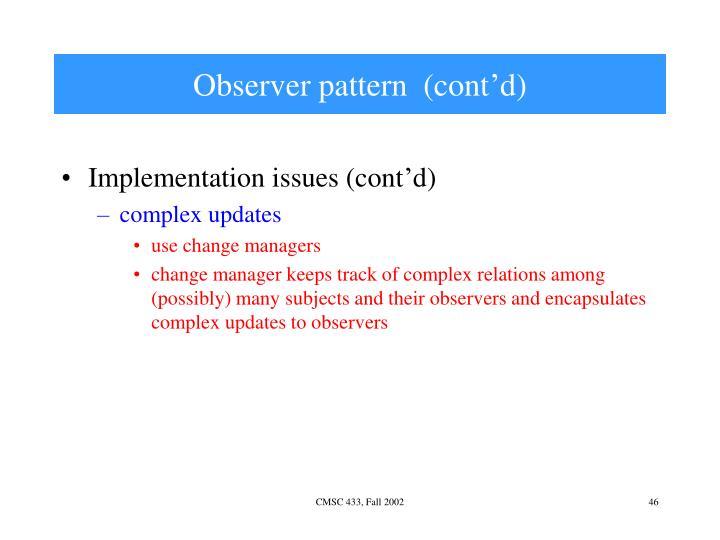 Observer pattern  (cont'd)