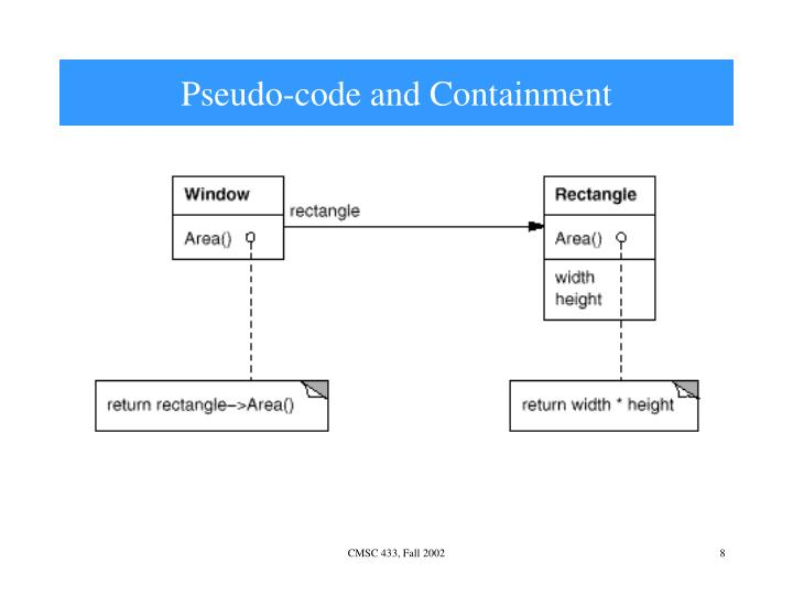 Pseudo-code and Containment