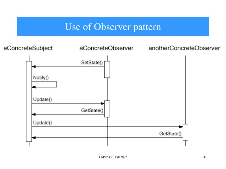 Use of Observer pattern