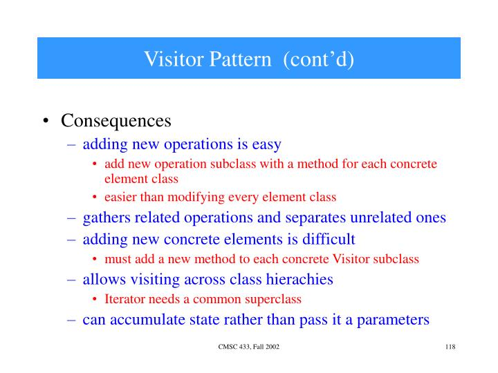 Visitor Pattern  (cont'd)