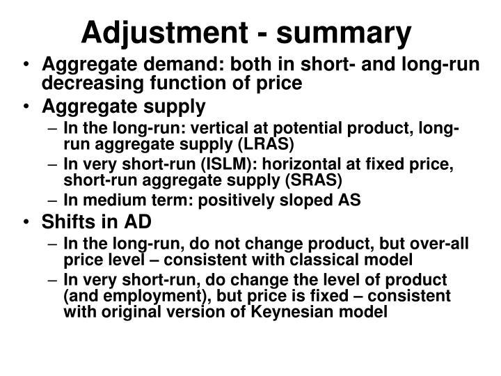 Adjustment - summary