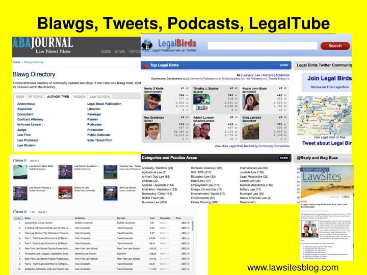Blawgs, Tweets, Podcasts, LegalTube