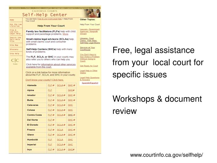 Free, legal assistance