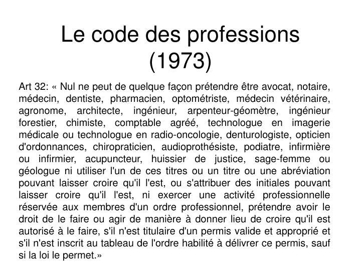 Le code des professions (1973)