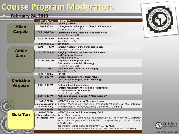 Course Program Moderators