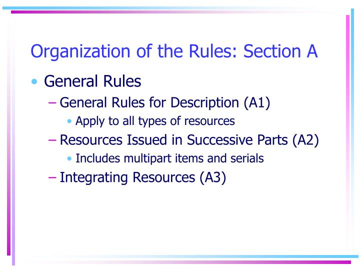 Organization of the rules section a